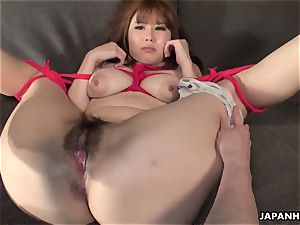 huge-chested japanese chick corded up and played