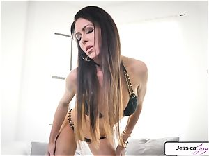 Jessica Jaymes flash you her humungous bra-stuffers and wet cunny
