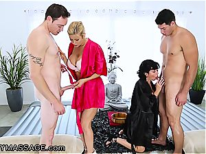sensuous rubdown by two super-naughty cougars concludes with immense facials
