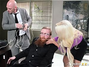 Bank robbing stunner Bridgette B tears up in front of the chief