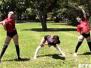 doll footballers tear up for a place on the team
