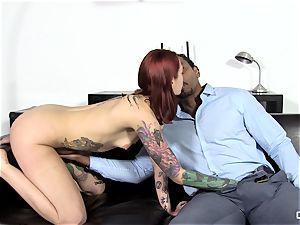Steak and fellatio - insatiable Silvia Rubi licking a humungous beef whistle