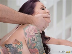 discreet hubby watches his wife Monique Alexander get butt-banged