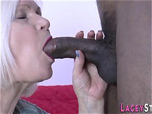 grannie deepthroats big black cock