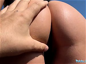 Public Agent mouth-watering clean-shaved Romanian snatch gets creampied