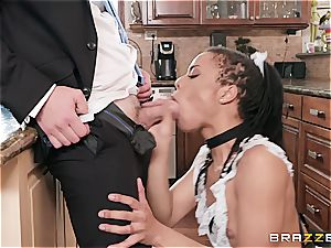 steaming black maid nearly get caught