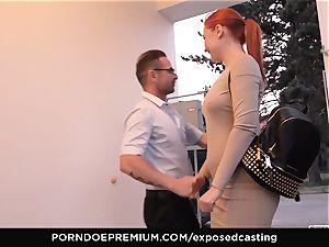 revealed audition - petite Russian redhead splatters rock hard