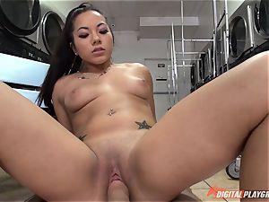Morgan Lee deepthroating and penetrating dick pov style