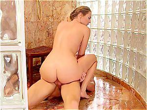 polish stunner drilling in the bathroom