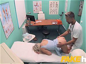 fake medical center prompt penetrating gives platinum-blonde massive bra-stuffers british