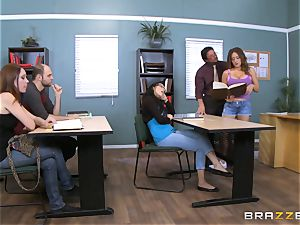Jean Michaels pounds her schoolteacher in the classroom