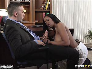 My fresh dark-hued secretary Codi Bryant with large natural breasts