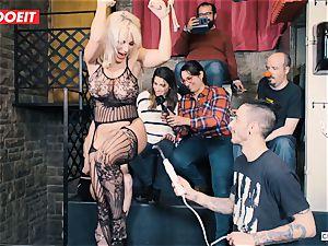 buxomy blond gets hardcore poking in restrain bondage soiree