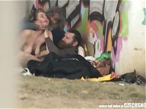 Homeless three way Having fuck-fest on Public