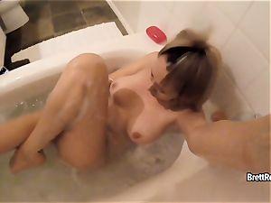 CrushGirls - Brett Rossi strokes in bubble bathtub