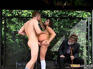 hilarious situation of twat rammed daughter and her grandpa sees at bus stop - Abella Danger and Bill Bailey
