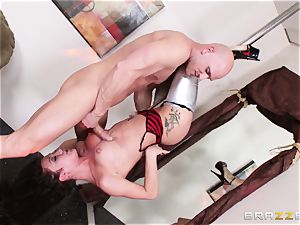 Upside down spear blowing from pole stunner Amy Brooke