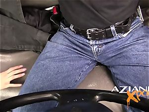 Aziani Xposed honey offers stud in public a suck off four gas