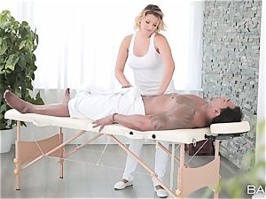Anna Polina takes on suspended big black cock deep in her steamy coochie