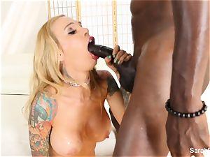 fantastic Sarah takes a immense black schlong deep inside