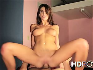 HD point of view warm brunette with huge boobs likes to bounce prick
