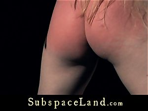 sub gal blond pleasured and penalized in obedience