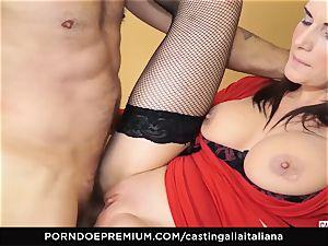 audition ALLA ITALIANA - buxomy dark haired luvs humid ass fucking