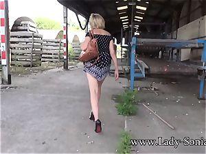 hefty knocker platinum-blonde damsel Sonia showing in public