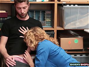 Krissy Lynn searches hung shoplifter and rails his shaft