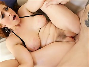 red-haired Penny Pax humps with her wooly cunt