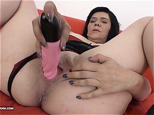 granny splashing and boinking gigantic black sausage deep throat