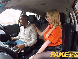 fake Driving college long ebony man rod pleases blonde