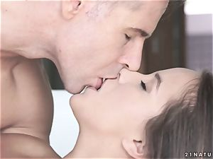 obese youthful black-haired seduced her father's colleague