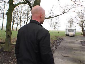 Deutschland Report - curvaceous German newcomer drills outdoors