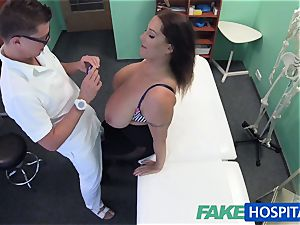 FakeHospital babe wants cum all over her immense big melons