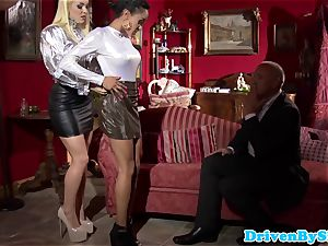 Bigtitted escorts jizz-swapping after triosex