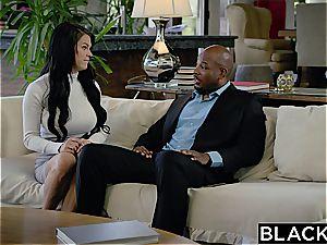 Seducing a humungous dark-hued boss with immense chubby titties