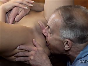 DADDY4K. Angry stud catches elderly daddy nailing his good-looking damsel