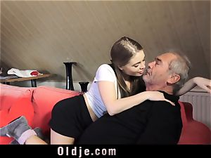 Russian girl blow The penis of an elder grandfather
