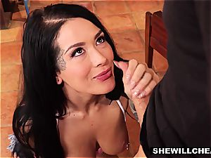 tatted wifey Cheats On aged spouse With steaming bone