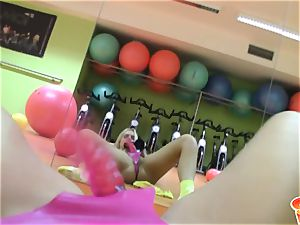 Sabrina blond ash-blonde doll wearing a pink rope on