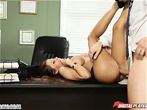 Mature guy tests his fresh assistant in office
