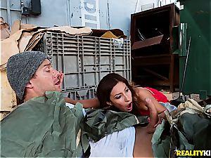 Jade Jantzen pummeling a hobo with her spouse nearby