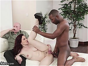 wood depraved Jessica cuckolds her hubby with a big black cock