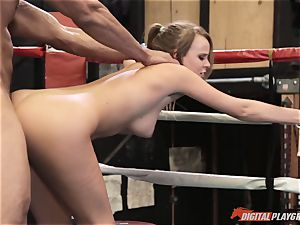 Alexis Adams snatch puckered in the boxing ring by yam-sized rod