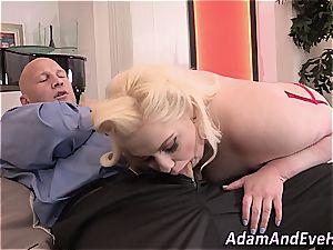 wondrous plus-size Klaudia Kelly tearing up her man
