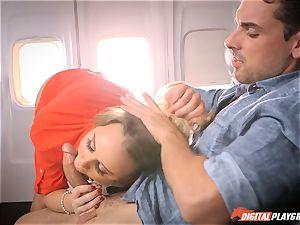 mischievous stewardess Alexis Adams screwing with the passengers